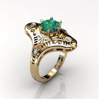 Mexican Art Deco 14K Yellow Gold 1.0 Ct Emerald Diamond Engagement Ring Wedding Ring R351-14KYGDEM