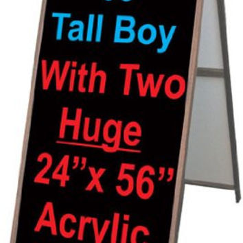 "Wood A-Frame 24""x60"" Double Sided Sidewalk Signs w/ Acrylic Panels"