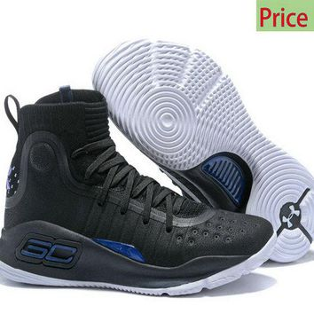 men shoes casual sneakers Mens Under Armour Curry 4 Mid Basketball Shoes Black Blue White sneaker