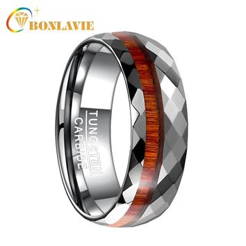 BONLAVIE 8MM Wide Fashion Men Tungsten Steel Ring Wood Polished Geometry Rhombus Surface Grain Rings Wedding Bands Jewelry