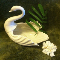 Large White Swan Bowl Lenox Vintage Fine Porcelain Detailed Swan Sculpture Dish Elegant 1980s Collectible Home Decor Wedding Shower Gift