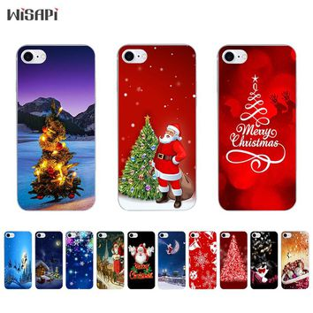 Silicone Case For iPhone 7 7plus 8 Shell for iPhone 5s 5c SE 6 6s 6plus Case TPU Bumper Phone Case Transparent Merry Christmas