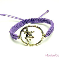 Bird Bracelet, Birds on a Branch, Lavender Macrame Hemp Jewelry