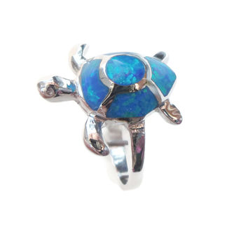 Sterling Silver Blue Opal Sea Turtle Ring