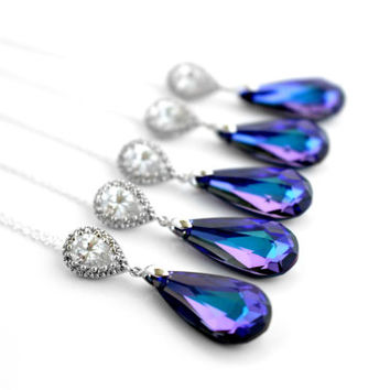 Purple Necklace Peacock Teardrop Pendant Sterling Silver Clear Cubic Zirconia Violet Wedding Plum Swarovski Jewelry for Bridesmaid MOH Gift