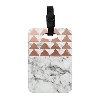 "KESS Original ""Marble & Metal"" White Copper Decorative Luggage Tag"
