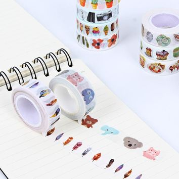 1.5cm Japanese Style Watercolor Feather Ice Cream Decorative Washi Tape DIY Scrapbooking Masking Tape School Office Supply 7m