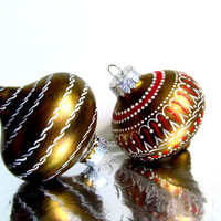Gold Red and white Christmas Tree Ornaments Two Hand painted Glass Onion Shaped Ornaments