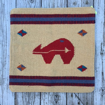 Red Bear Wool Saddleblanket Pillow Cover
