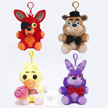 14cm FNAF in stock five nights at freddy fox bear bonnie toys plush pendants keychains dolls kids toys stuffed soft toys