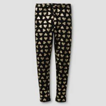 Girls' Coziest Leggings Cat & Jack™ - Black with Gold Foil Hearts