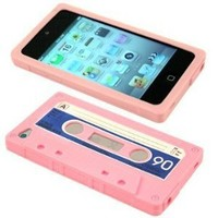 Cbus Wireless brand Light Pink/Blue Silicone Cassette Tape Case / Skin / Cover for Apple iPod Touch 4 / 4G / 4th Gen