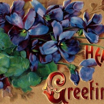 Colorful Antique Hearty Greetings Postcards Early 1900s