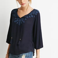 Floral-Embroidered Peasant Top