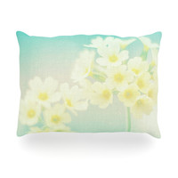 "Monika Strigel ""Happy Spring"" Yellow Teal Oblong Pillow"