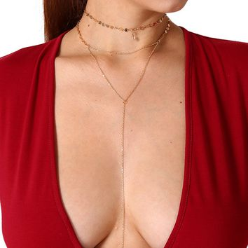 Simple and Sexy Multi - Layered Set of Items Decorated with Gold Sequins A Word Chain Tassel Crystal Necklace 171124