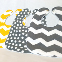 Baby Bib Set - Modern Baby Bib Set- Grey & Yellow Fabric - Chevron Bibs- Polkadot Bib - White Minky Fabric Backing - Handmade Baby Gift