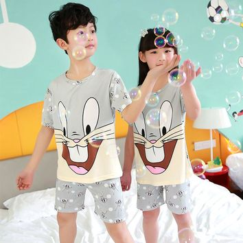 New kids pajamas sets baby boys girls cartoon home clothes Bugs Bunny sleeper short sleeve kids pajamas children sleepwear