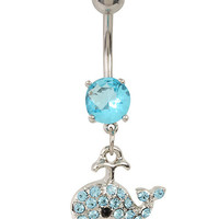 """14G 3/8"""" Steel Blue CZ Whale Navel Barbell"""