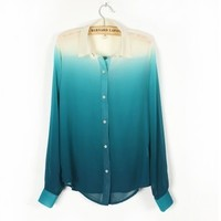 A 083122 s Gradient -sleeved chiffon shirt