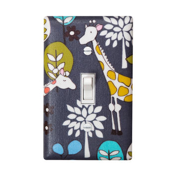 Giraffe Light Switch Plate Cover / Baby Nursery Decor / Retro Gray and White / Michael Miller Giraffe Garden Grey / Safari Woodland Fabric