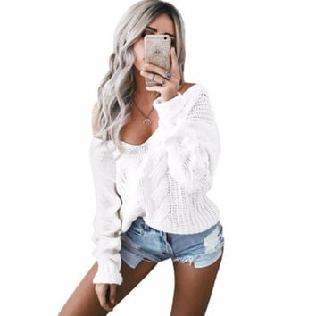 New 2017 Women Sweater Sexy White V neck Warm Knitted Sweater Plus Size Women Long Sleeve Pullover Jumper Winter Knitwear Femme
