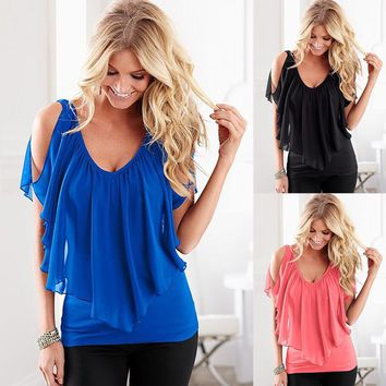 STYLEDOME Womenvintage  chiffon shirt lotus leaf sleeve Off shoulder tops Blouses