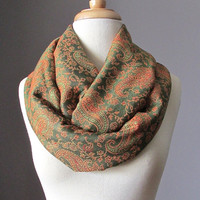 Green Infinity Scarf , Rust Paisley scarf, pashmina , Delicate paisley scarf, women  accessories, gift idea for her, circled scarf