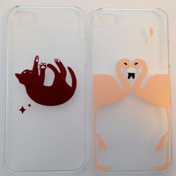 Cat Flamingo Cute Ariel Mermaid Disney Clear Hard Case Phone iPhone 4 4S 5 5S 5C
