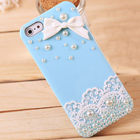 Lace pearl bow iphone4S / 5 Mobile Shell JCIF