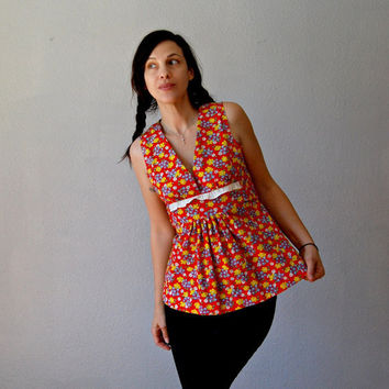 floral PRAIRIE blouse / 1970s sleeveless by vintagemarmalade