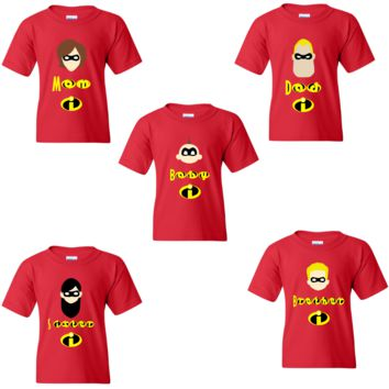 Custom Disney Incredibles Family Costumes Shirts