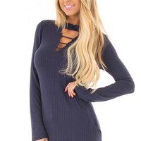 Navy Ribbed Top with Chest Cutout