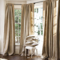 Fall Sale 20% off with coupon code-Burlap All Natural Shabby Chic Window Treatments, Curtains, custom sizes available