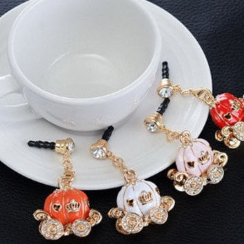 Cutte pumpkin style earphone hanging charm anti dust plug for most of cell phone  with 3.5 jack plug.