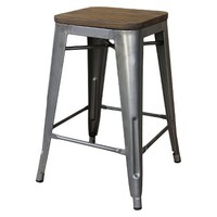 Threshold™ Hampden Industrial Stool with Wood Top (Set of 2)