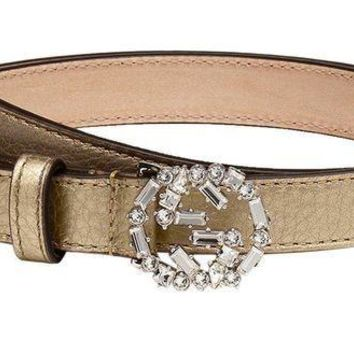 ICIK8X2 Gucci Women's Metallic Leather Crystal Interlocking GG Buckle Belt