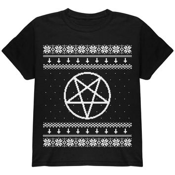 White Satanic Pentagram Ugly Christmas Sweater Black Youth T-Shirt