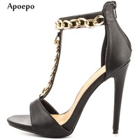 Apoepo Hot Selling T-strap High Heel Shoes 2018 Sexy Open Toe Woman Sandal Summer Fashion Cutouts Thin heels Sandal Black
