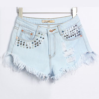 Light Blue Trapezoidal Rivets Frayed High Waist Denim Shorts