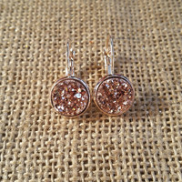 Rose gold plated faux druzy leverback earrings