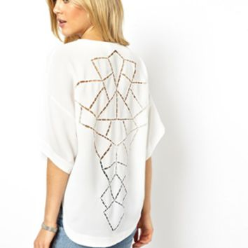 ASOS Top with Dip Back and Cutwork - Cream