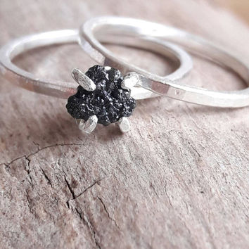 Rough Black Diamond and Sterling Silver Bridal Set - Raw Black Diamond - Alternative Wedding Set - Diamond Stacking Rings - Goth Wedding Set