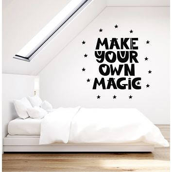 Vinyl Wall Decal Make You Own Magic Quote Words Stars Dreamlike Stickers Mural (g1018)