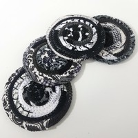 Black & White Fabric Coasters Set of 4, Handmade, OOAK Coiled Rope, Hippie, Unique Cloth Drink Coasters, Boho Kitchenware