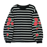 Floral Print Round Neck Sweatshirt in Stripe