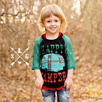Kids Happy Camper on Black Burnout with Turquoise Lace Sleeves
