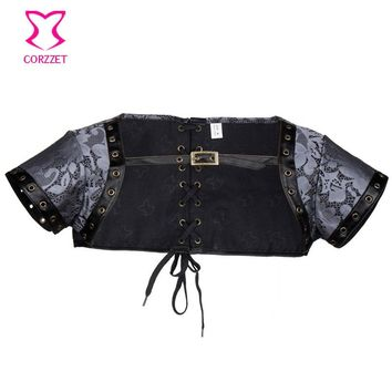 Fashion Silver Brocade & Faux Leather Short Sleeves Gothic Jacket Steampunk Corset Accessories Women Bolero Sexy Gothic Clothing
