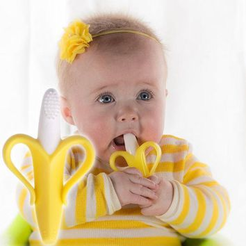 ICIK272 0-12 Months Baby Toys Silicone Banana Infant Teether Toys Toothbrush High Quality and Environmentally Safe Teething Ring