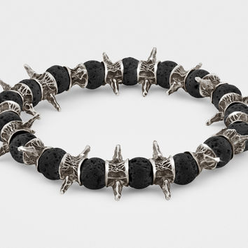 Lava Beads, Oxidized Sterling Silver Spiky Bracelet
